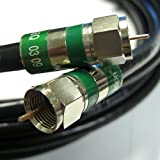 6ft Black Quad Shield Indoor/Outdoor RG-6 Coax Cable 75 Ohm 3Ghz UV resistance (CATV