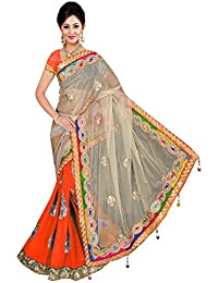 Winza Women's Georgette And Net Half Half Saree With Blouse