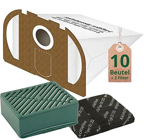 10 weiße Staubsaugerbeutel Filtertüten mit Hepa Hygiene Filter Set passend für Vorwerk Tiger VT 251 & 252 Staubsauger