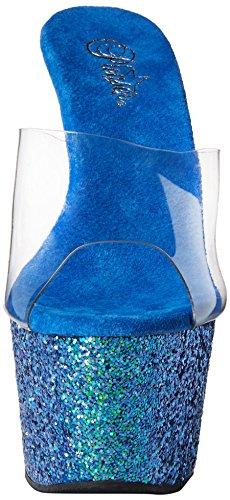 Pleaser ADORE-701LG Damen Plateau Pantolette Clr/Blue Holo Glitter