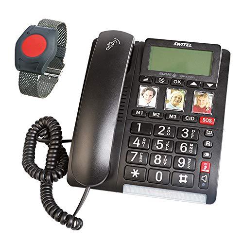 ELDAT Easywave APF01: Senioren-Telefon mit Notruf-Armband, schnurgebundenes Festnetztelefon mit SOS Funktion, großen Tasten, hörgerätekompatibel