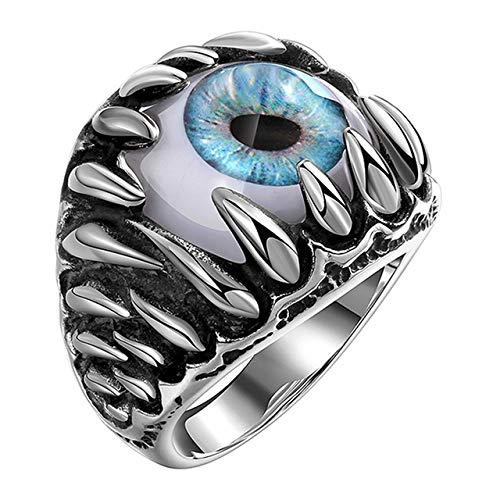 KBWL männer Gothic Evil Eye Ball Design Charme Ring Punk Finger Schmuck Geschenk Edelstahl Ringe Männer Modeschmuck Neue Ankunft Größe 8 (Evil Ring Eye Männer)