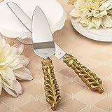 Juego de cuchillo y pala para tarta, de acero inoxidable, de la colección Gold Lattice Botanical, con mango dorado y motivos vegetales