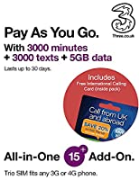 Three UK All-in-one 15+ PAYG Trio SIM Card -3000 minutes, 3000 texts + 5GB data - (RETAIL PACK)