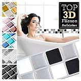 Grandora 1 Stück 25,3 x 3,7 cm schwarz weiß Silber Fliesenaufkleber Design 16 I 3D Mosaik Fliesenfolie Küche Bad Wandaufkleber Fliesensticker Fliesendekor W5423