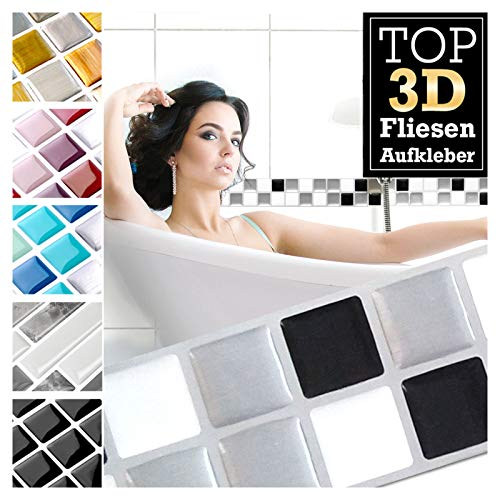 1 pieza 25,3 x 3,7 cm negro blanco plateado etiqueta adhesiva para baldosas Design 16 I pegatina para baño de cocina en papel de aluminio mosaico 3D Grandora W5423