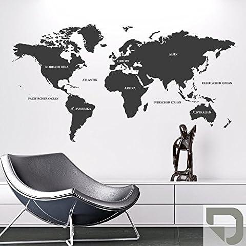 DESIGNSCAPE® Wandtattoo Weltkarte 120 x 64 cm (Breite x Höhe) grau DW806021-S-F6