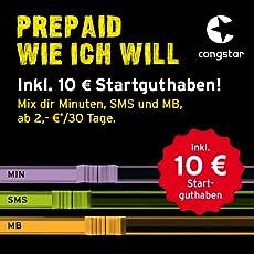 congstar Prepaid Wie Ich Will [Sim, Micro-Sim und Nano-Sim] Dein Wunschmix in Guter D-Netz-Qualität inkl. 10 EUR Startguthaben (Mix Dir Allnet-Minuten, SMS und MB)