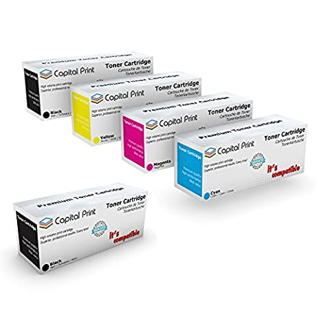 Set of 4 + Black Capital Print Compatible Toner Cartridge
