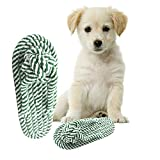 #1: Pet Dog Chew Rope Toy, Durable Variety Puppy Chew Teething Cotton Ropes Slippers (Green)