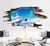 Avión de pared rota pegatinas de pared para sala de estar dormitorio bar fondo de pared mural decoración para el hogar arte del vinilo tatuajes de pared