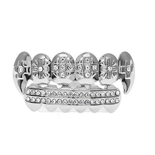 Kashyk 6 Zähne vergoldet Kappe +1 * Dentalkleber Hip Hop Style - mit Diamant-Zahnschmuck - Gold/Silber - Abdeckung der Zähne - Zahnspangen - Zahngitter - Körperschmuck - Geschenk (Dental-laminat)