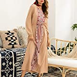 Women Girls Casual Elegant Dress Female Ladies Wild Dress for Daily Wear -Khaki XL