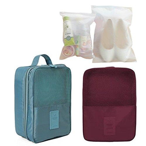 Amoyie 4er Set Multifunktionale Schuhtasche Tasche zur Trennung von Schuhen Wasserfeste Schuhbeutel Schuhsack Tasche für Schuhe, Reisezubehör, Weinrot und Grün Weinrot und Grün