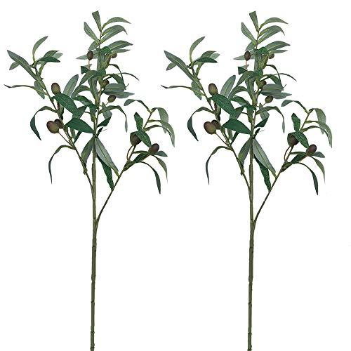 Aisamco 2 Stück Künstliche Olivenpflanzen Zweige Früchte Zweig Blätter in Grün 28″Hohe Indoor Outdoor Künstliche Grün Dekoration Faux Grün Akzent Blumen Arrangement