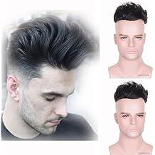 Auspiciouswig - Piezas de pelo humano natural para hombre, tupé, peluca, fina mono