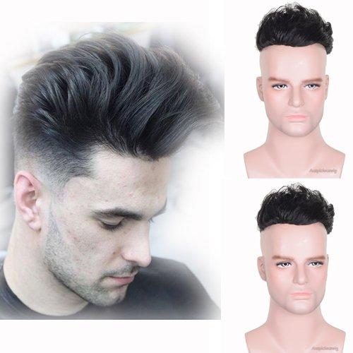 Auspiciouswig, parrucchino da uomo di capelli naturali umani, parrucche di ricambio, mono fine con PU per uomini, 20,3x 15,2cm