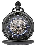 KS Reloj de Bolsillo Hombre con Cadena antiguos Steampunk Esqueleto Mecánico con Caja de Regalo color Negro KSP089