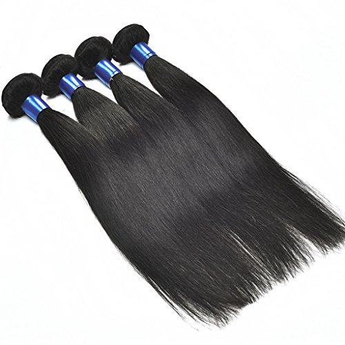 Meylee 7A Malaysia Straight Hair 3 Bundles Natürliche Farbe Unverarbeitete Menschenhaarverlängerung 100g / Bundle , 20 22 24 26 (Und Griff Pony-haar-spitze)