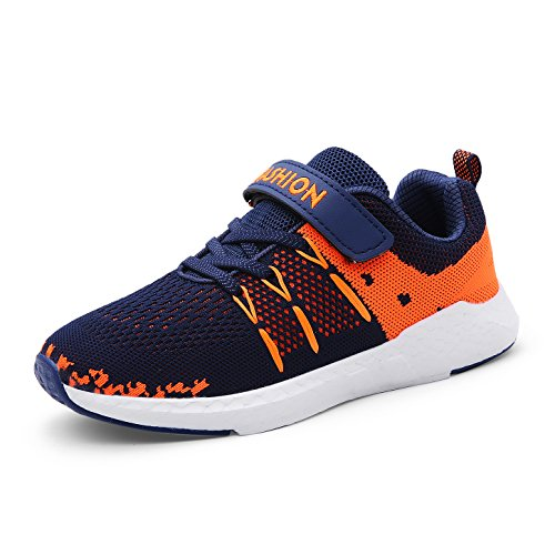 ZOSYNS Sportschuhe Kinder Schuhe Ultraleicht Atmungsaktiv Turnschuhe Klettverschluss Low-Top Sneakers Laufen Schuhe Laufschuhe für Mädchen Jungen Blau 36