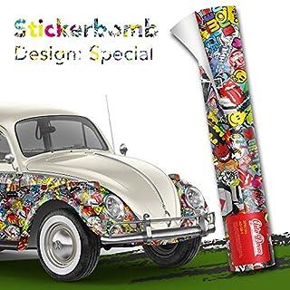 Alle Designs- alle Größen: Stickerbomb Auto Folien glänzend oder matt - Marken Sticker Bomb Logos- JDM Aufkleber (30x150cm, SD bunt matt)