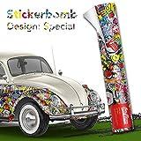 Alle Designs- alle Größen: Stickerbomb Auto Folien glänzend oder matt - Marken Sticker Bomb Logos- JDM Aufkleber (100x150cm, SD bunt matt)