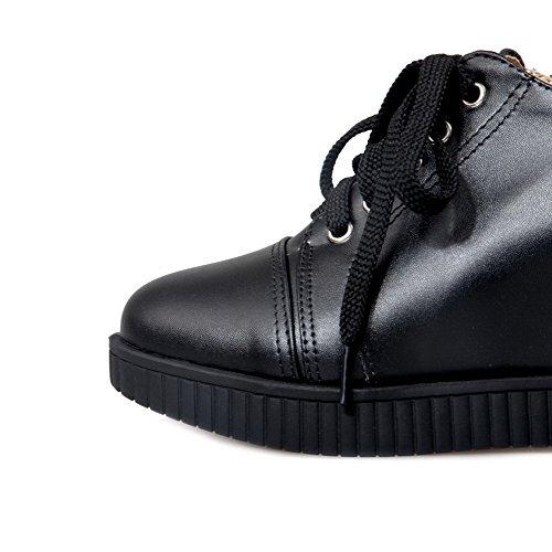VogueZone009 Femme Rond à Talon Haut Matière Souple Couleur Unie Lacet Chaussures Légeres Noir