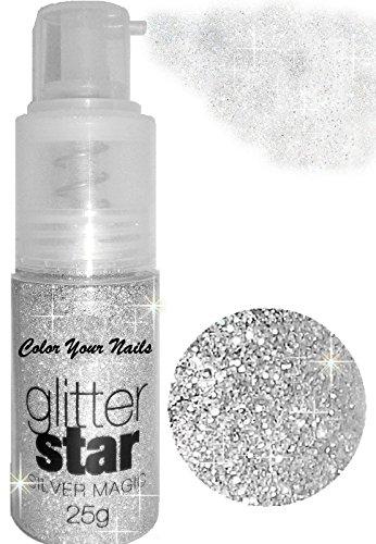25g Glitterpuder Spray. Silber. Auch auf Haut und Haare (Haar Silber Spray)
