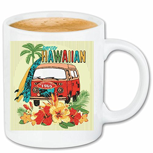 Reifen-Markt Kaffeetasse Hawaii Bus Surfen Surfbrett Longboard PALMEN Sonne Urlaub Surfen Beach...