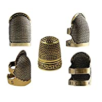 HERME 5 Pack Sewing Thimble, Metal Copper Sewing Thimble Finger Protector Adjustable Finger Shield Ring Fingertip Thimble Sewing Quilting Craft Accessories DIY Sewing Tools