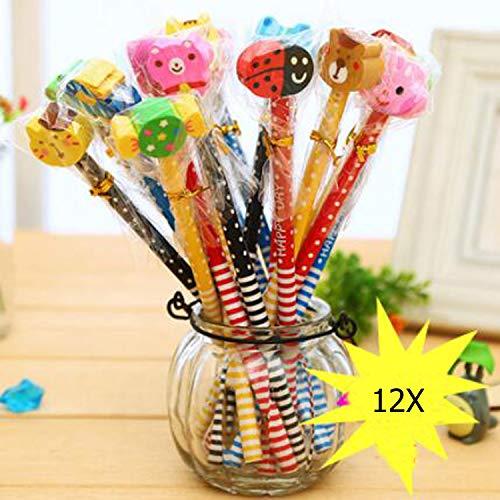 12x Bleistifte mit Radiergummi Schule HB Stifte Set für Geburtstag Mitgebsel Geschenk Kinder Party Gastgeschenk Holzbleistifte Belohnungen (Farben sind zufällig)
