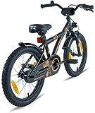 Prometheus Kinderfahrrad 18 Zoll Jungen Mädchen Schwarz Matt Orange ab 6 Jahre mit Alu V-Brake und Rücktritt - 18zoll BMX Modell 2019 Test