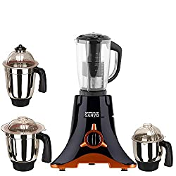 MasterClass Sanyo Black Color 600Watts Mixer Juicer Grinder with 4 Jar (1 Juicer Jar with filter, 1 Large Jar, 1 Medium Jar and 1 Chuntey Jar)