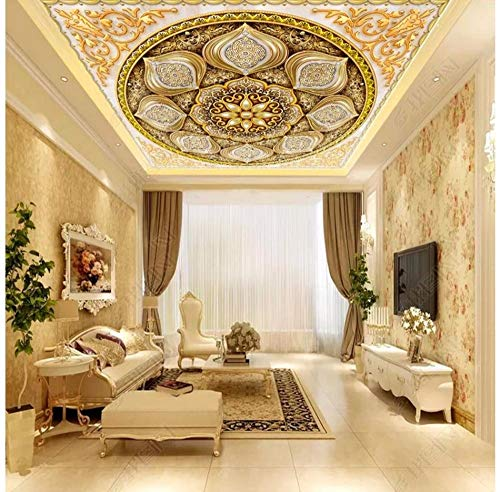 Rureng Decke Tapetenrollen Für Wand 3D Goldschmuck Für Wohnzimmer Schlafzimmer Tapeten Wohnkultur Decke Tapete Der Tür-200X140Cm