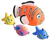Idena 40458 - Badetiere im Netz, 4 verschiedene Fische mit Spritzfunktion