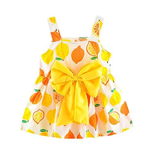 Sonnena Mode Bogen Neugeborenes Kleinkind Baby Mädchen Zitrone Drucken Strap Princess Party Casual Dress Kleidung Sling Kleid Minikleid
