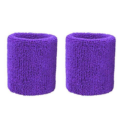 PETUNIA 1Pair Pure Cotton Wristbands Men Women Wrist Bands Sweatbands for Sport Tennis - Purple