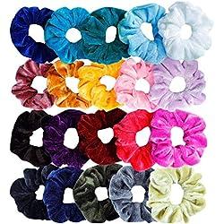 Sinwind 20 Chouchous Bandeaux bandes velours cheveux élastique bandes de cheveux filles pour Scrunchie femmes ou accessoires pour les cheveux des filles (20 couleurs)