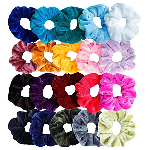 Sinwind 20 pcs elastici per capelli elastici per capelli in velluto capelli di velluto nastri velvet elastic hair cravatte scrunchie per donne o ragazze accessori per capelli (- 20 colori assortiti)