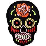 colorés des roses de crâne noirPunk Patch ''6,5 x 9,3 cm'' - Écusson brodé Ecussons Imprimés Ecussons Thermocollants Broderie Sur Vetement Ecusson