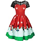 Damen Weihnachten Übergröße Spitzen Ärmellos Party Vintage Midi Kleid (Rot,M)