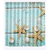 Cortina de la ducha XINGUANG Sanitaria del poliéster de la impresión de Digitaces 3D de Las Estrellas de mar Shell de la partición Sanitaria Cortina (Tamaño : 180 * 180)