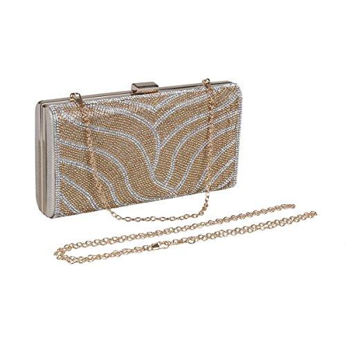 Damara® Bogenform Damen Festlich Brauttasche Abendtasche Silber