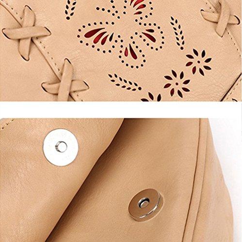 YouPue Damen Kuriertasche Handtasche Retro Umhängetasche Kleine Clutch Tasche Pu-Leder Schultasche Tragetaschen Beige