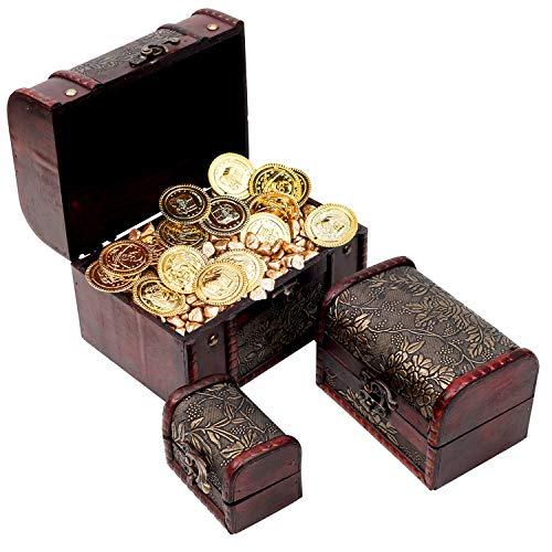 Kurtzy portagioie in legno- set 3 scatole portagioie vintage, scrigno, organizer makeup, custodia scatola legno, accessori scatola regalo- anello, collana e bracciale