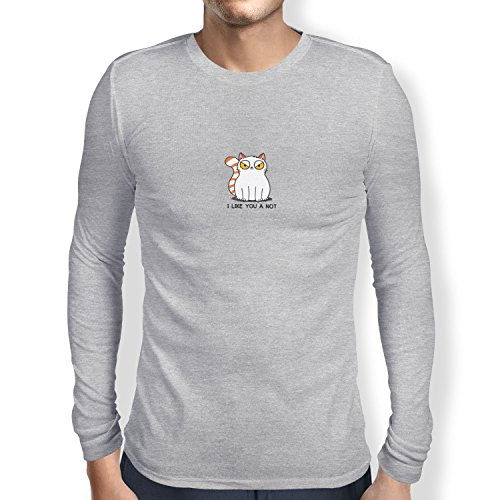 TEXLAB - I like you a not - Herren Langarm T-Shirt Grau Meliert