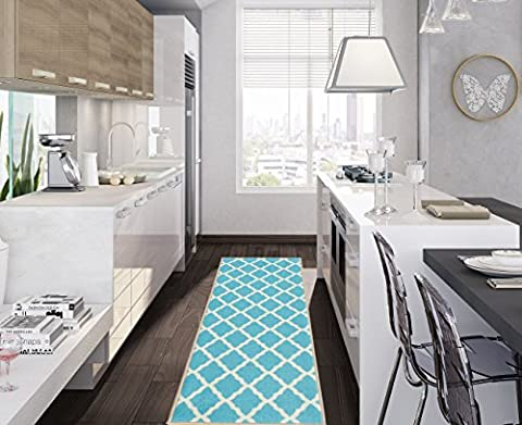 Ottomanson Glamour Collection Contemporary Moroccan Trellis Design Lattice Runner (Non-Slip) Kitchen and Bathroom Mat Rug, Blue, 26