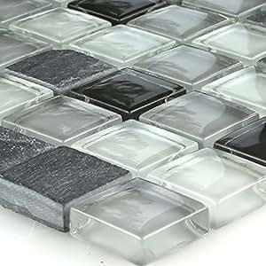 Glas Schiefer Mosaik Grau Mix