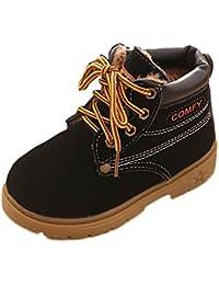 Koly Sin Adición de algodón, Bebé Niño del ejército del estilo Martin botas, zapatos calientes del invierno (21, Negro)