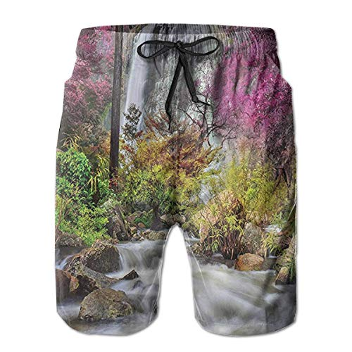 Preisvergleich Produktbild KLYDH Colorful Forest Bush Feigned Stream Trees Leisure Sport Fitness Quick-Drying Men's Shorts Beach Pants with Pockets Swim Trunks Breathable Sweat Absorption, Size:XX-Large